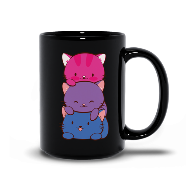 Bisexual Pride Cute Kawaii Cat Mug 15 oz / Black
