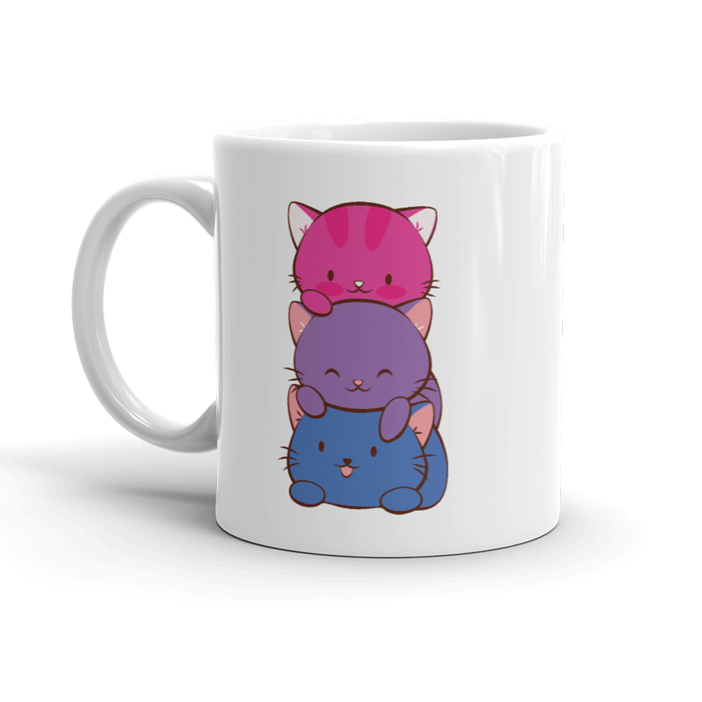 Bisexual Pride Cute Kawaii Cat Mug White 11oz