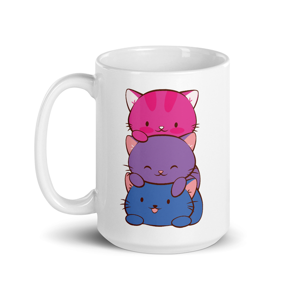 Bisexual Pride Cute Kawaii Cat Mug 15 oz / White