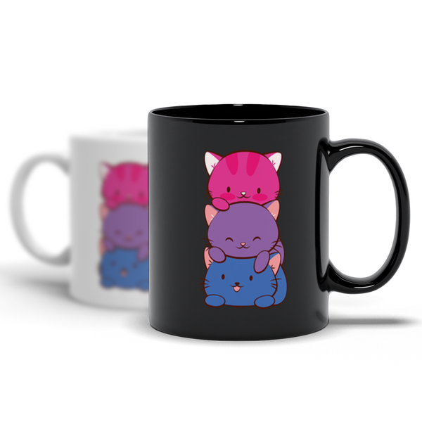 Bisexual Pride Cute Kawaii Cat Mugs