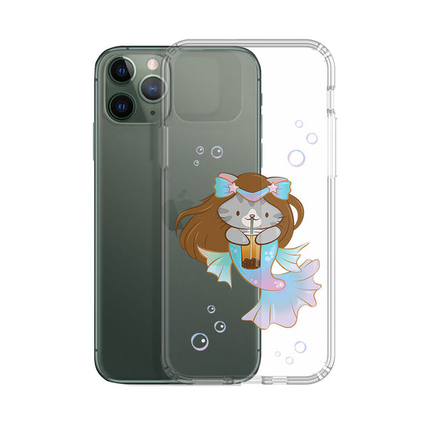 Boba Mermaid Cute Cat Kawaii Phone Case - Clear Aesthetic