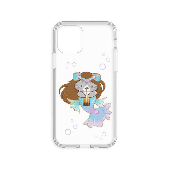 Boba Mermaid Cute Cat Kawaii Phone Case - Clear Case