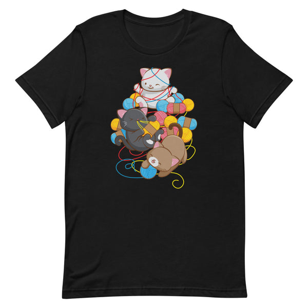Cat Play With Yarn Kawaii T-shirt for Knitters and Crotcheters S / Black