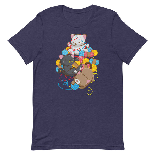 Cat Play With Yarn Kawaii T-shirt for Knitters and Crotcheters S / Heather Midnight Navy