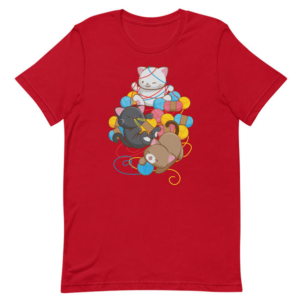 Cat Play With Yarn Kawaii T-shirt for Knitters and Crotcheters S / Red