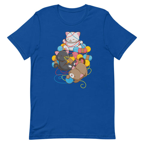 Cat Play With Yarn Kawaii T-shirt for Knitters and Crotcheters S / Royal Blue