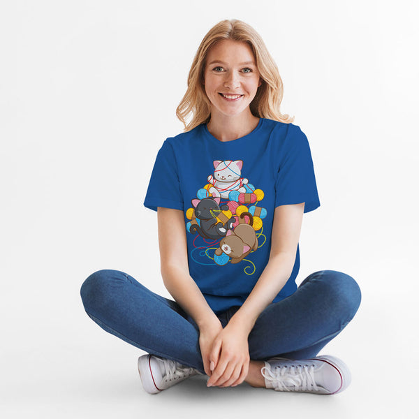 Cat Play With Yarn Kawaii T-shirt for Knitters and Crotcheters