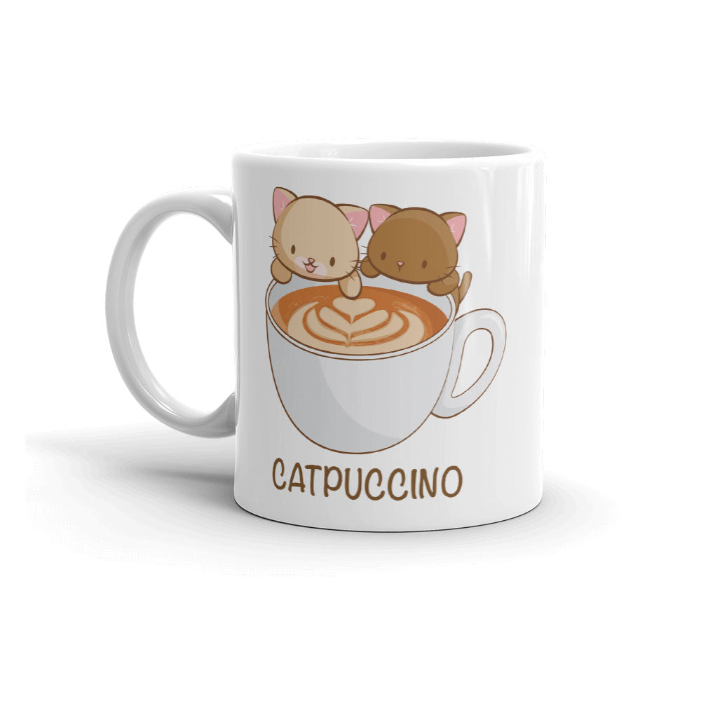 Catpuccino Cute Coffee Cats Kawaii Mug 11 oz white
