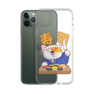 Cute Kitty Cat Sushi Chef Kawaii Phone Case - Clear Aesthetic
