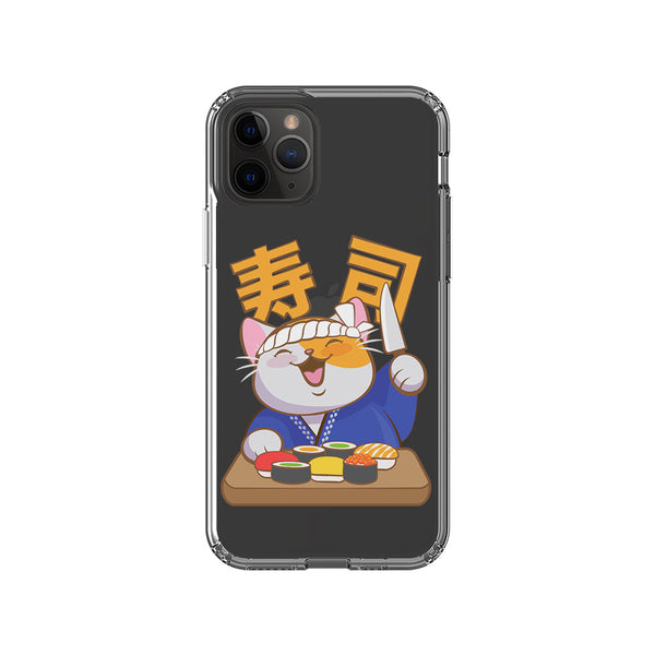 Japanese Sushi Chef Kawaii Cat Phone Case - Clear Aesthetic