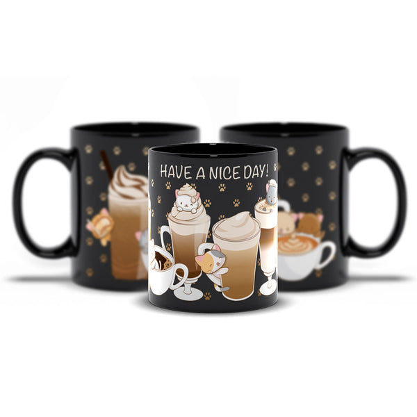 Cute Coffee Cats Kawaii Mug 11 oz / Black