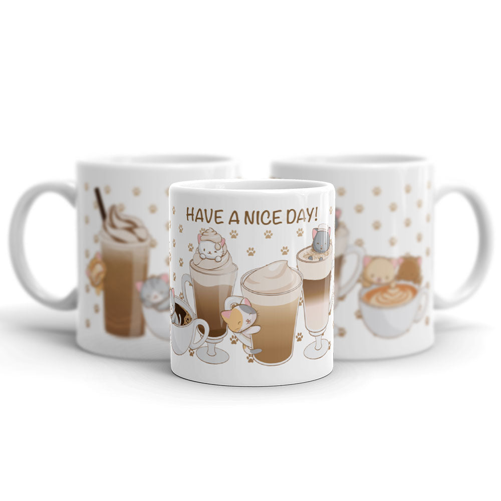Cute Coffee Cats Kawaii Mug 11 oz white