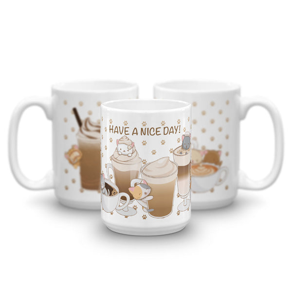 Cute Coffee Cats Kawaii Mug 15 oz white