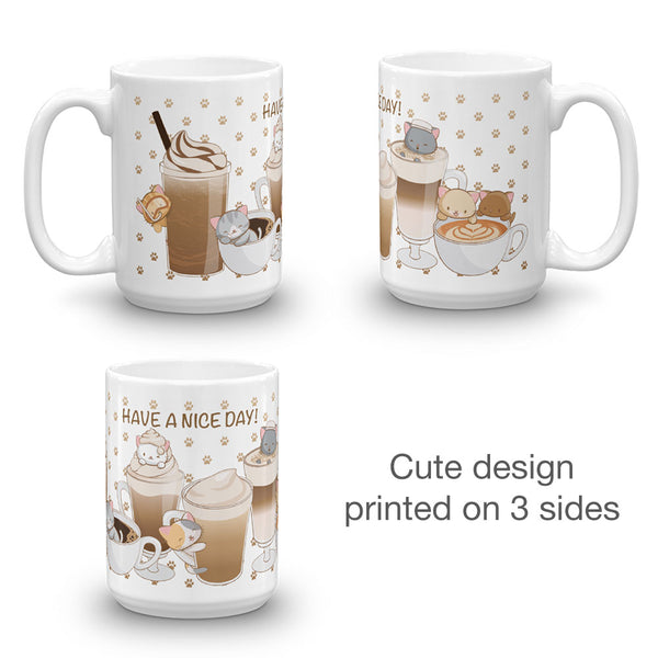 Cute Coffee Cats Kawaii Mug White
