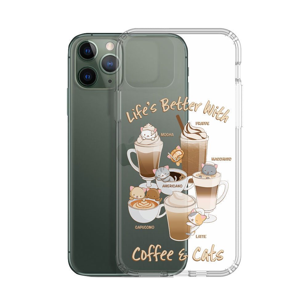 Cute Coffee Cats Kawaii Phone Case - Clear Aesthetic