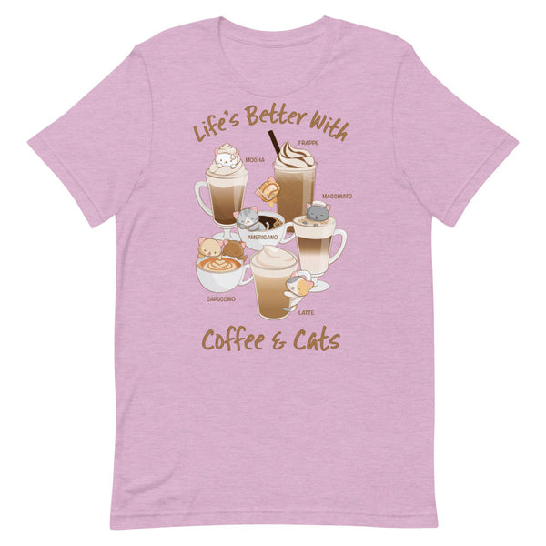 Cute Coffee Cats Kawaii T-Shirt Heather Prism Lilac