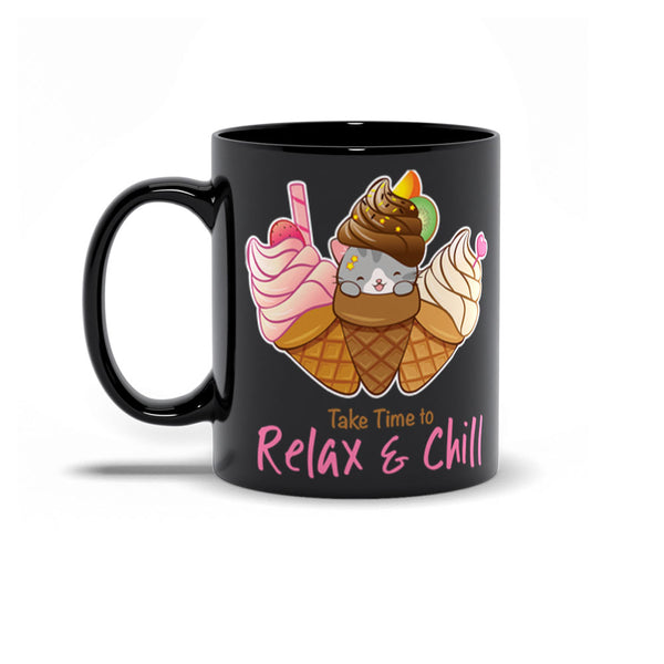 Cute Ice Cream Cat Kawaii Mug 11 oz black