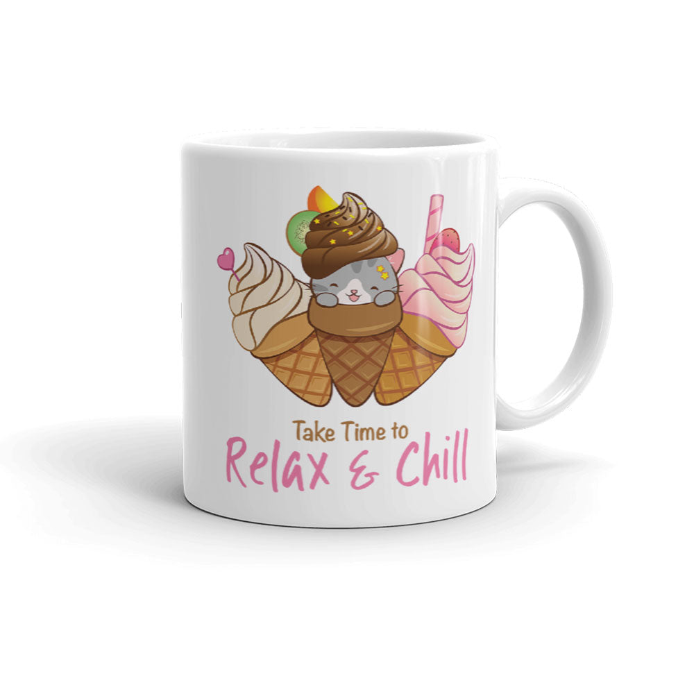Cute Ice Cream Cat Kawaii Mug 11 oz white