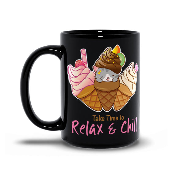 Cute Ice Cream Cat Kawaii Mug 15 oz black
