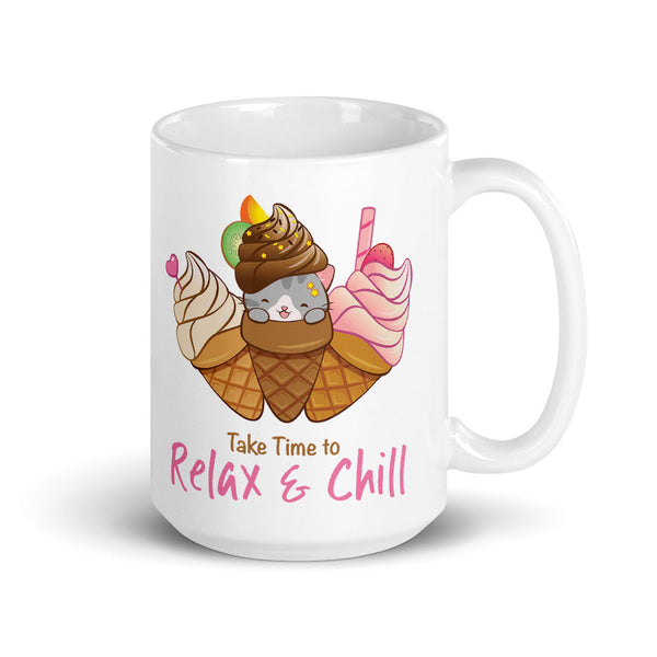 Cute Ice Cream Cat Kawaii Mug 15 oz white