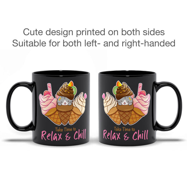 Cute Ice Cream Cat Kawaii Mug black