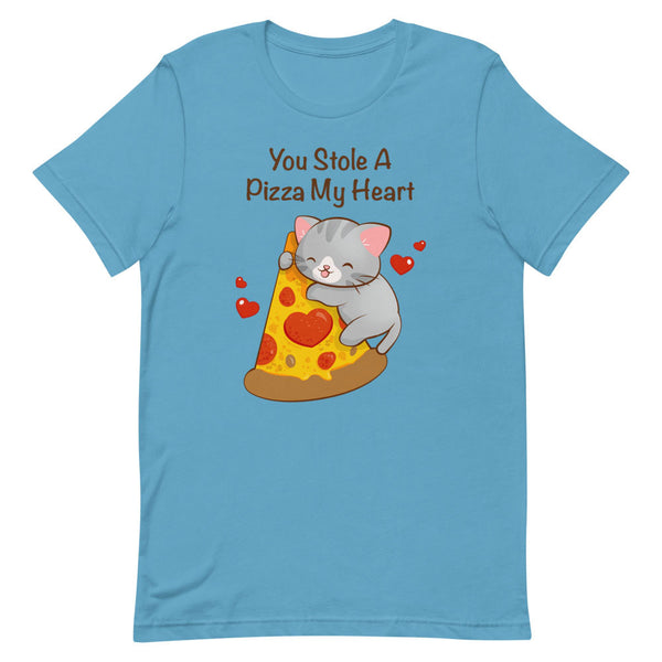 Kawaii Pizza Cat T-Shirt S / Ocean Blue