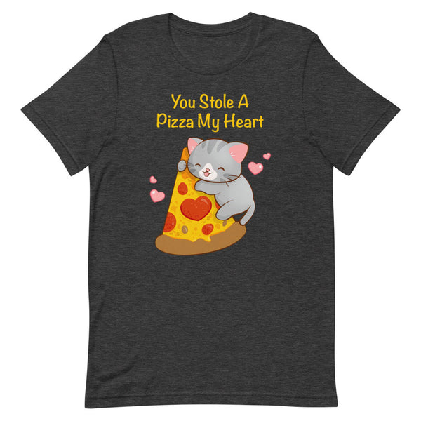 Kawaii Pizza Cat T-Shirt S / Dark Grey Heather