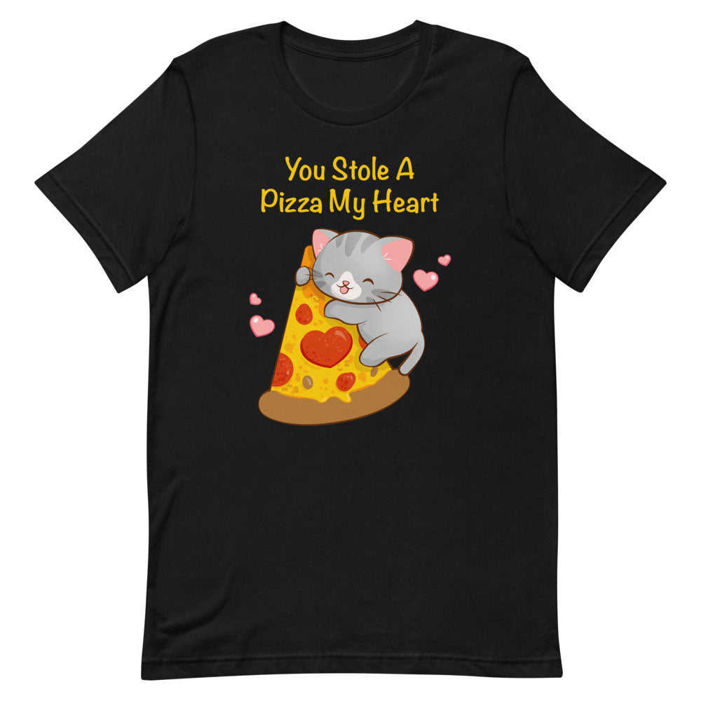 Kawaii Pizza Cat T-Shirt S / Black