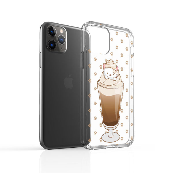 Cute Paw Prints Coffee Cat Kawaii Phone Case - Clear Aesthetic View