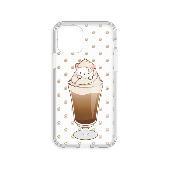 Cute Paw Prints Kawaii Coffee Cat Phone Case - Clear Aesthetic
