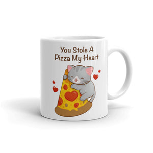 Cute Pizza Cat Kawaii Mug 11 oz / White