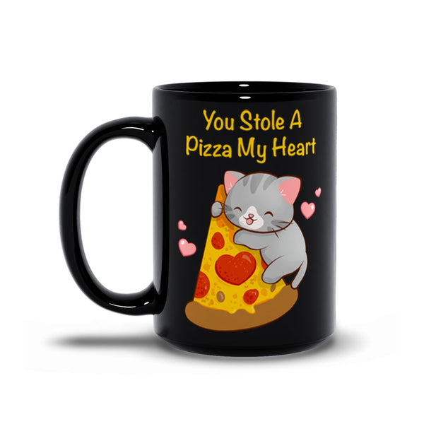 Cute Pizza Cat Kawaii Mug 15 oz Black