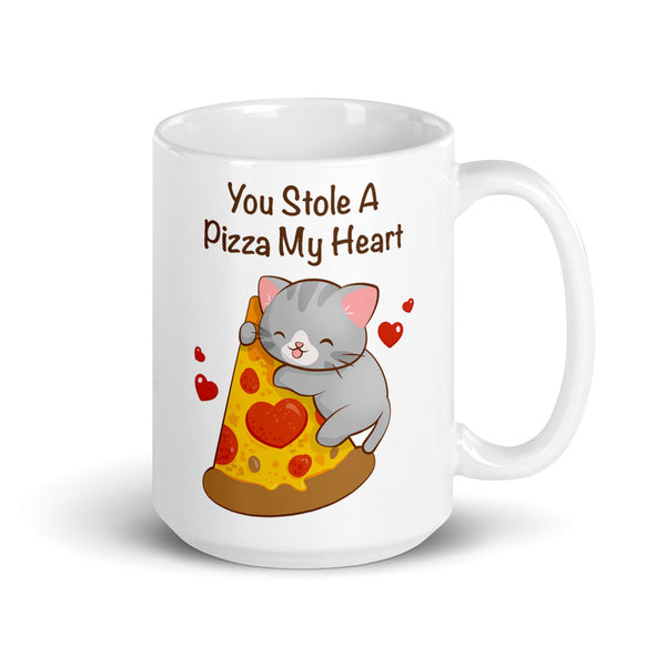 Cute Pizza Cat Kawaii Mug 15 oz White