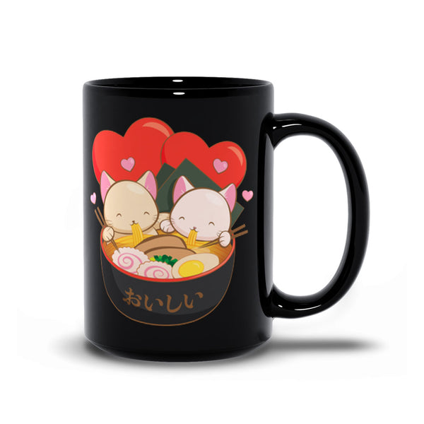 Cute Ramen Cats Kawaii Mug 15 oz / Black