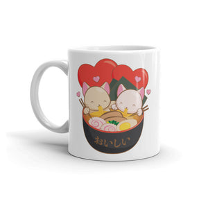 Cute Ramen Cats Kawaii Mug 11 oz / White