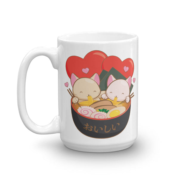 Cute Ramen Cats Kawaii Mug 15 oz / White