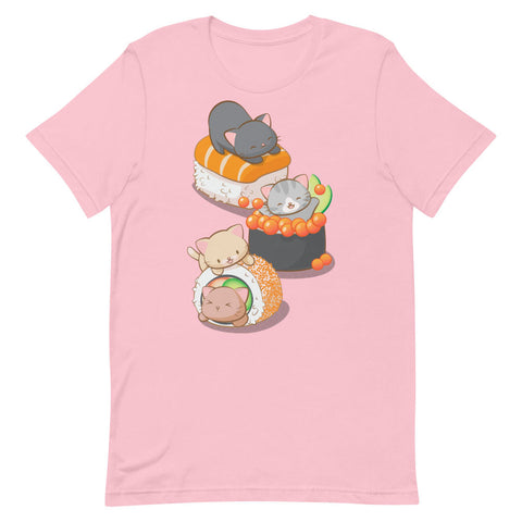 Cute Sushi Cats Kawaii T-Shirt Pink