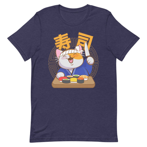 Cute Sushi Chef Kawaii Cat T-Shirt heather midnight navy
