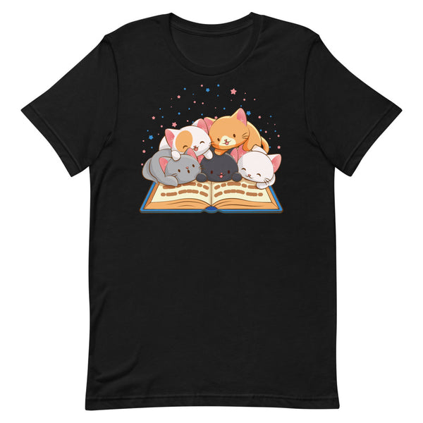 Cute Kawaii Cats Reading T-shirt for Readers and Book Lovers S / Black Irene Koh Studio