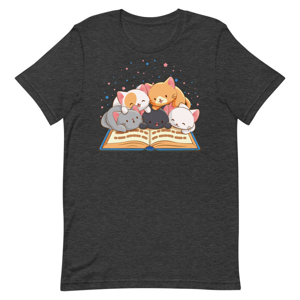 Cute Kawaii Cats Reading T-shirt for Readers and Book Lovers S / Dark Grey Heather