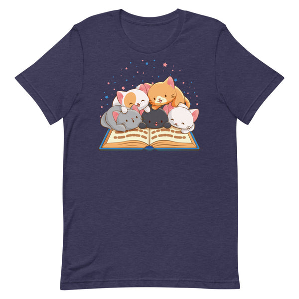 Cute Kawaii Cats Reading T-shirt for Readers and Book Lovers S / Heather Midnight Navy Irene Koh Studio