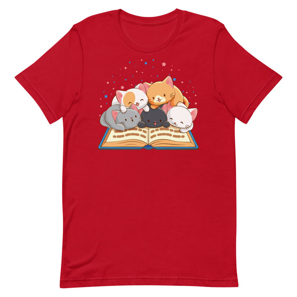 Cute Kawaii Cats Reading T-shirt for Readers and Book Lovers S / Red
