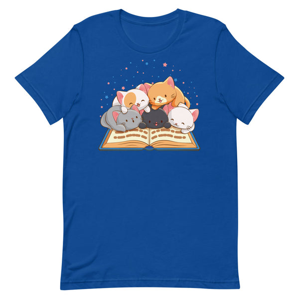 Cute Kawaii Cats Reading T-shirt for Readers and Book Lovers S / Royal Blue Irene Koh Studio