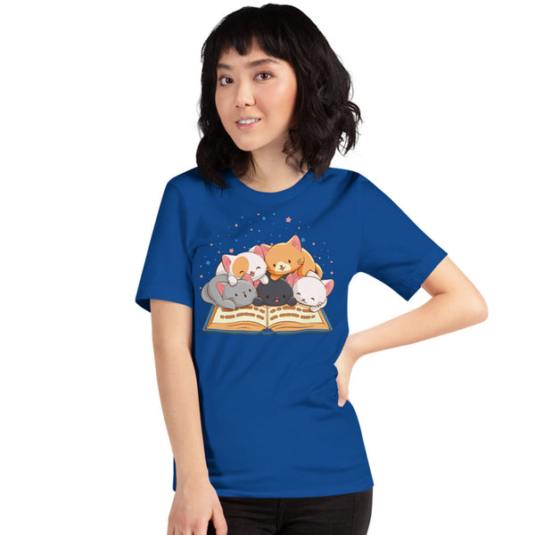 Cute Kawaii Cats Reading T-shirt for Readers and Book Lovers