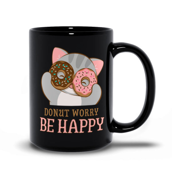 Donut Worry Be Happy Cute Cat Kawaii Mug 15 oz / Black