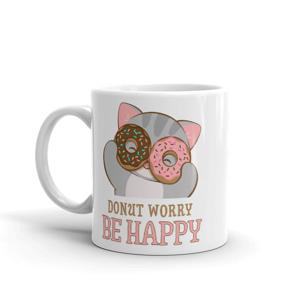 Donut Worry Be Happy Cute Cat Kawaii Mug White 11 oz