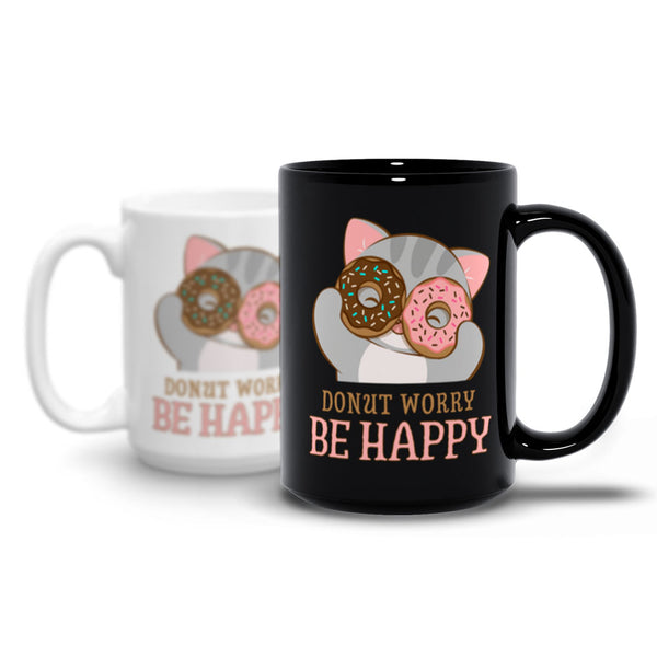 Donut Worry Be Happy Cute Cat Kawaii Mug Irene Koh Studio