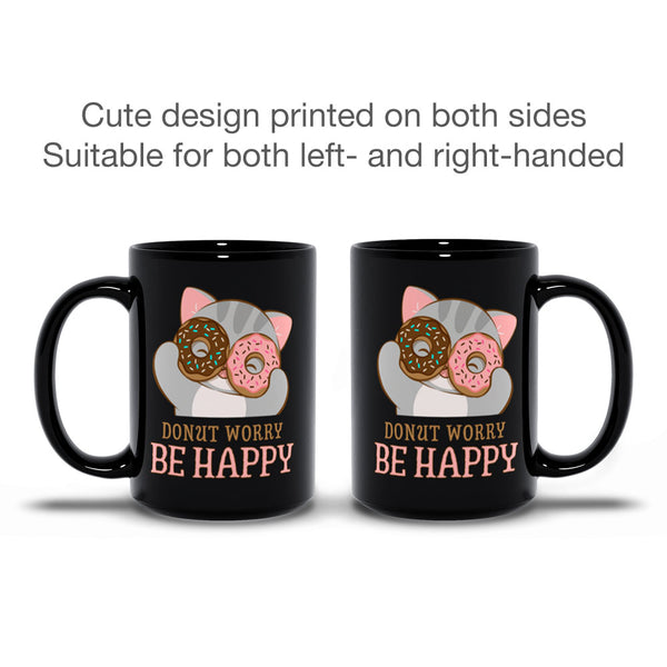 Donut Worry Be Happy Cute Cat Kawaii Mug Black