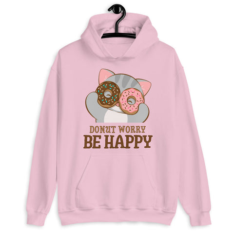 Donut Worry Be Happy Kawaii Cat Hoodie Light Pink / S