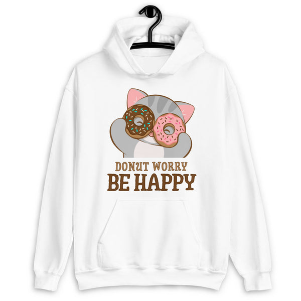 Donut Worry Be Happy Kawaii Cat Hoodie White / S